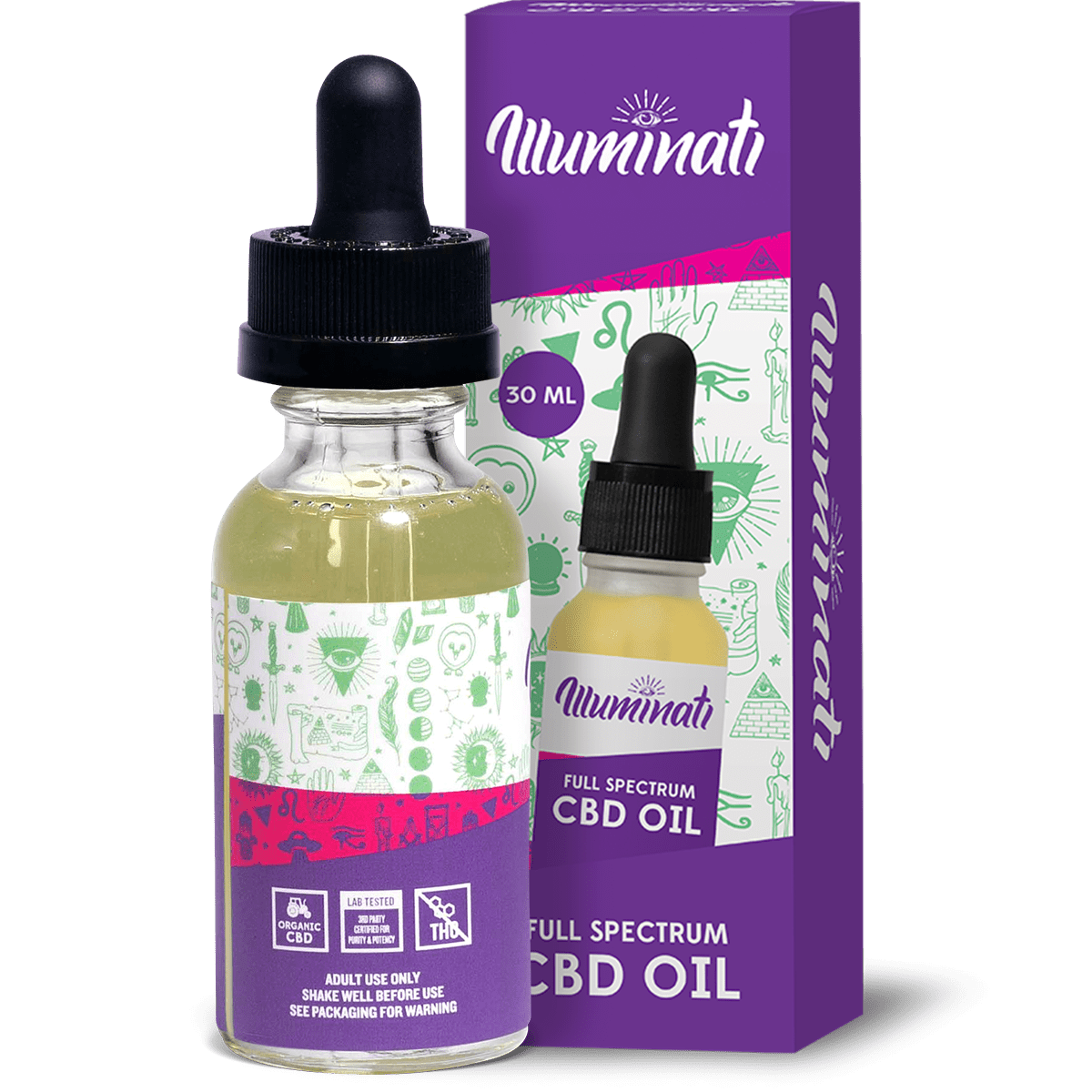 Illuminati Full Spectrum CBD Oil Drops 25mg Back