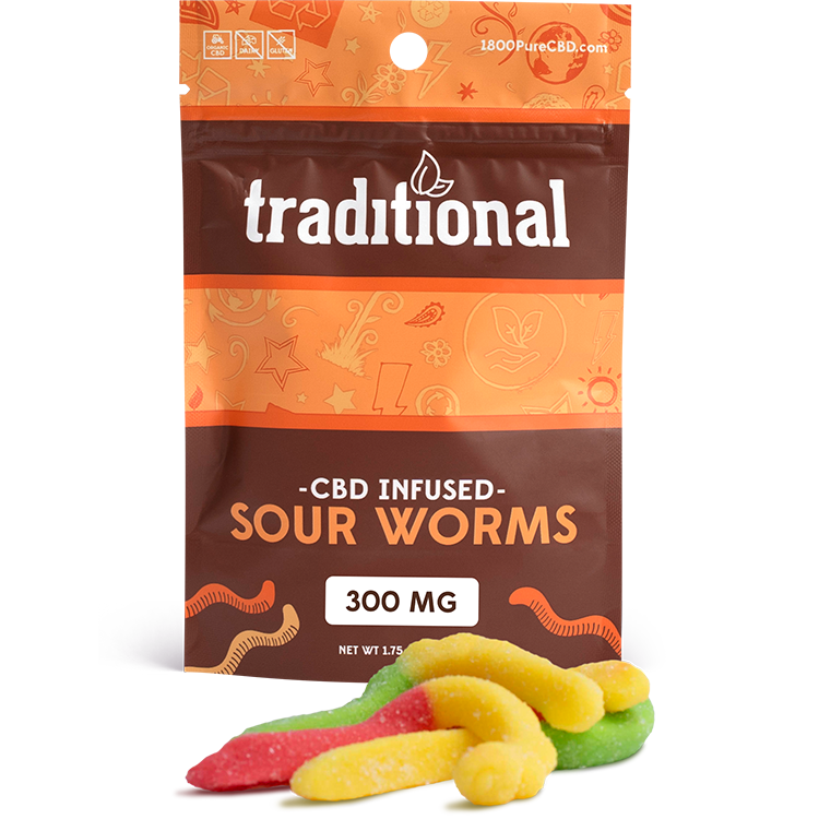 Traditional CBD Sour Worms 300mg