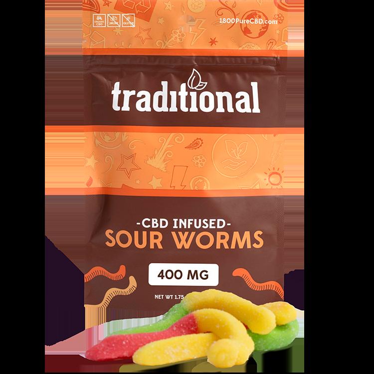 Traditional CBD Sour Worms 400mg