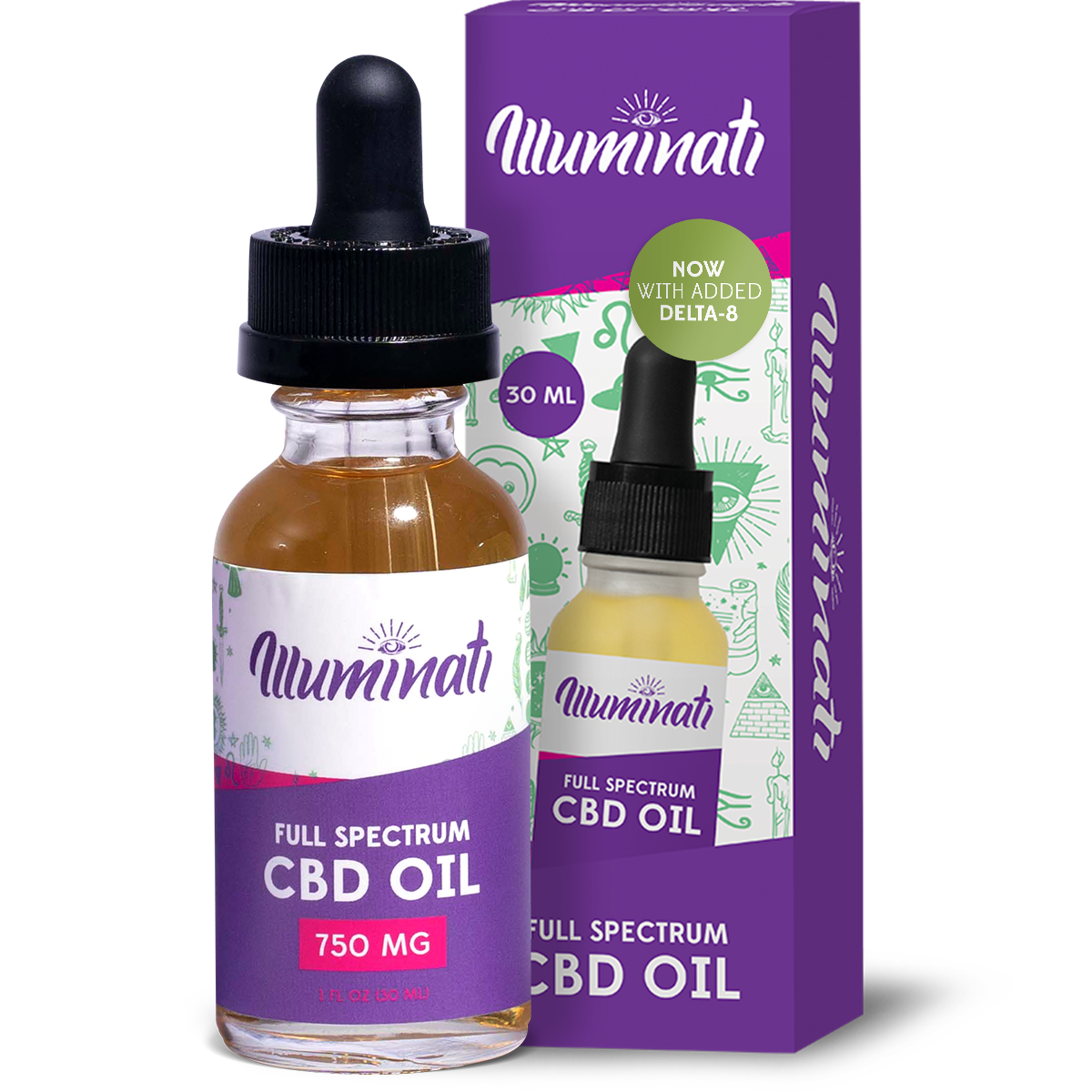 Illuminati Delta 8 THC Oil Drops 1350mg + CBD 1500mg