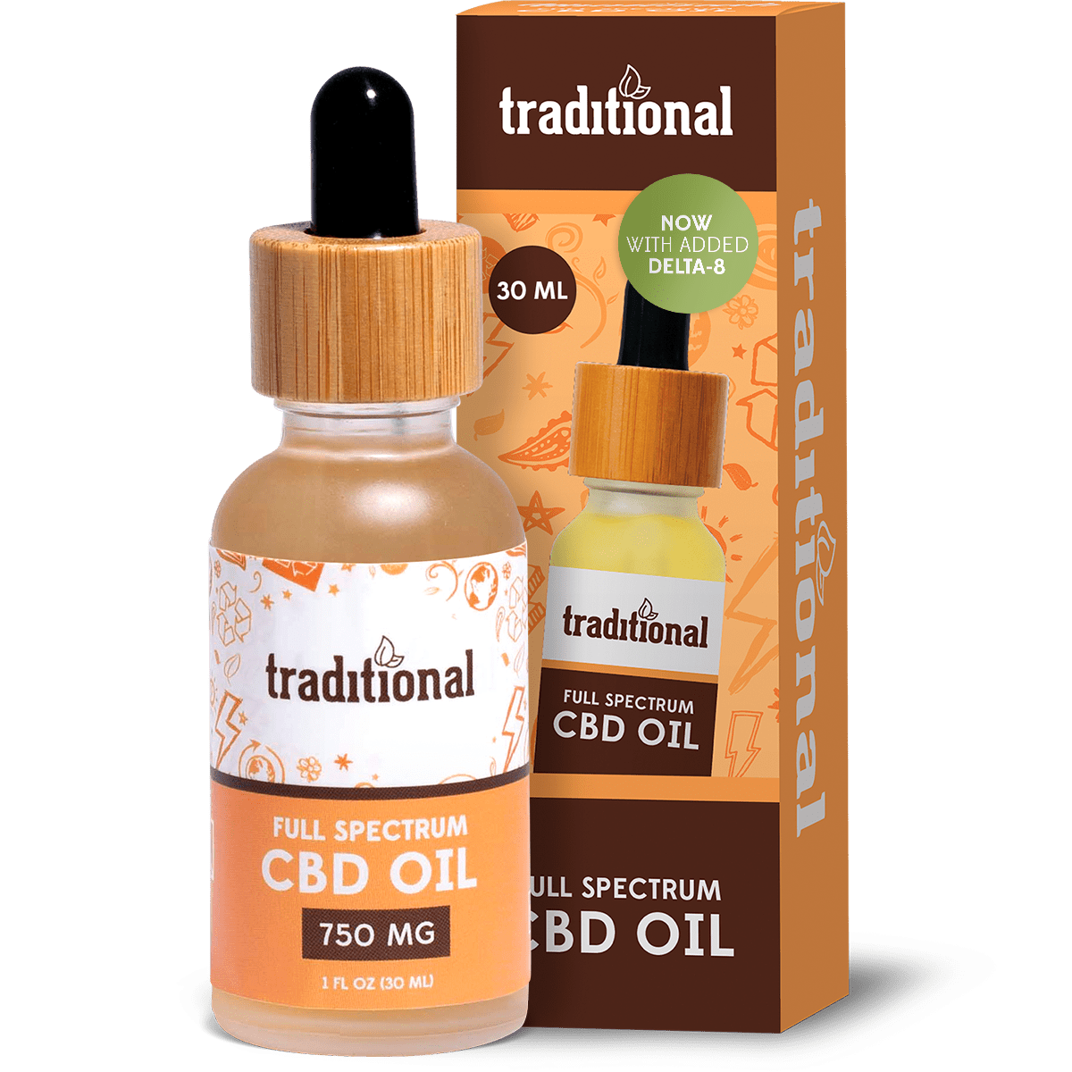 Traditional Delta 8 THC Oil Drops 750mg + CBD 750mg