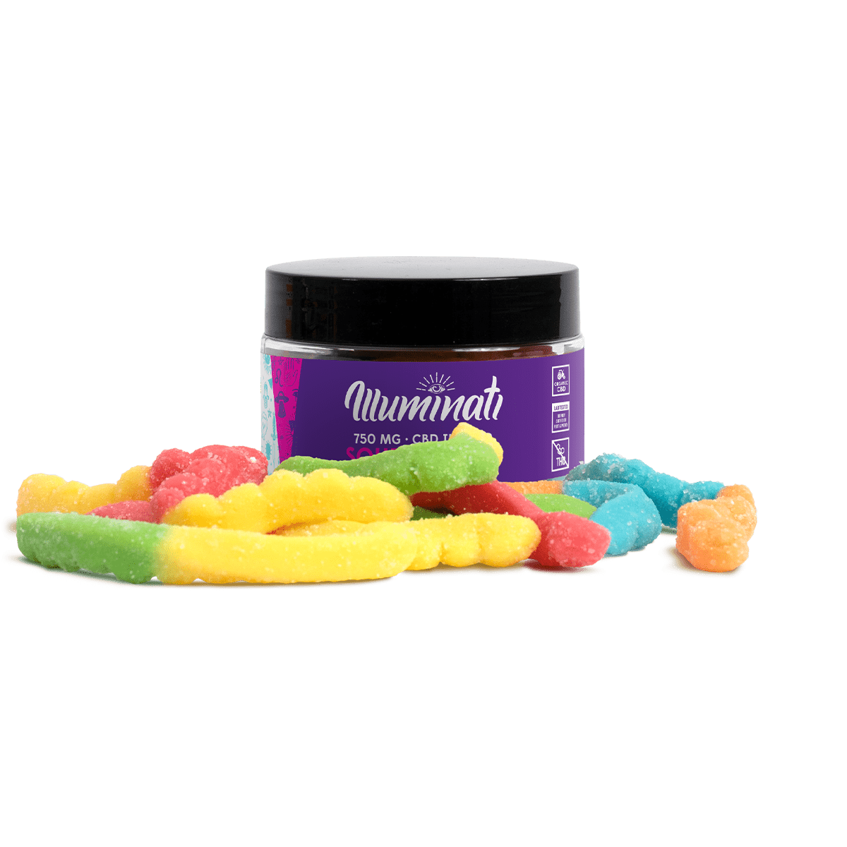 Illuminati CBD Sour Worms 750mg Jar