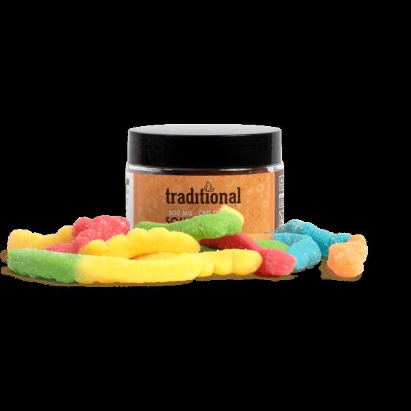 Traditional CBD Sour Worms 500mg Jar